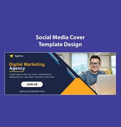 Digital marketing agency social media cover templa vector