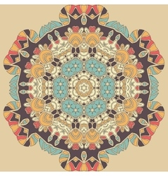 Dim coloured seamless mandala Brown blue and vector