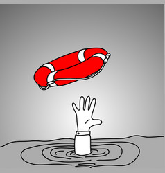 drowning businessman getting red lifebuoy from vector image