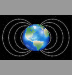 Earth planet with magnetic field vector