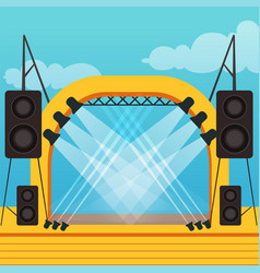 Empty stage for open air festival or music concert vector