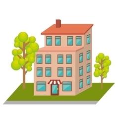 Exterior cute building icon vector