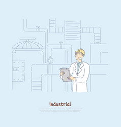 Factory supervisor in white coat studying report vector