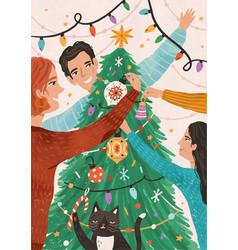 family celebrating christmas together flat vector image