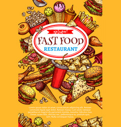 Fast food restaurant poster vector