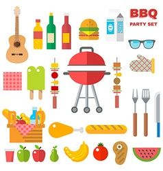 Flat Design Picnic BBQ elements vector