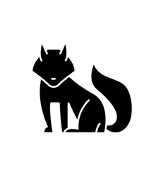 fox black icon sign on isolated background vector image