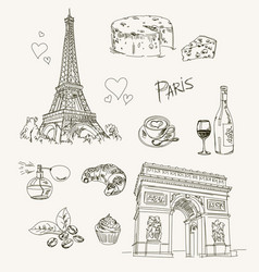 Freehand drawing paris items vector
