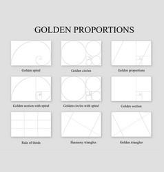 Golden proportions set golden section ration vector