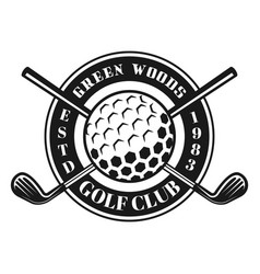 golf ball and crossed golf sticks emblem vector image