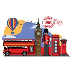 great britain icon city set vector image