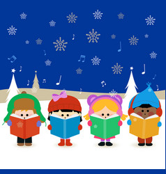 Group children singing christmas carols vector