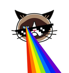 grumpy cat in pixel glasses with rainbow lasers vector image
