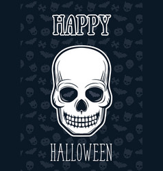 Halloween poster with skull vector