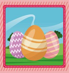 Happy easter egg decorative pink background vector