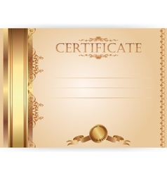 Horizontal royal certificate with a laurel wreath vector