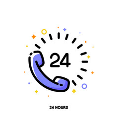 icon telephone handset with number 24 vector image