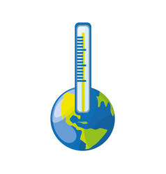 isolated care planet thermometer vector image