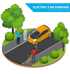 Isometric Electric car parking electronic car vector image