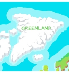 isometric map greenland detailed vector image
