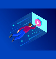 isometric media player skin or video player vector image