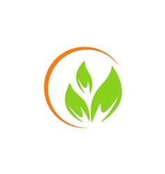Leaf vegetarian abstract green logo vector