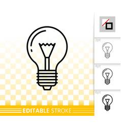 Light bulb glass lamp simple thin line icon vector