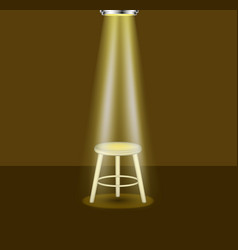 Light shines on empty stool on stage vector