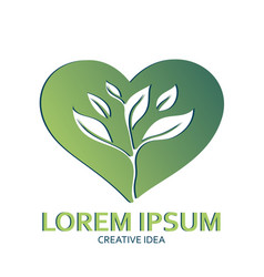 logo green heart silhouette and sprout leaf vector image