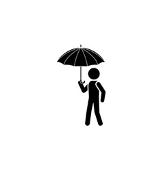 man with an umbrella icon black on white vector image