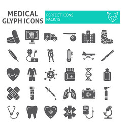 medical glyph icon set hospital symbols vector image