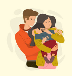 mom and dad hugging their son vector image