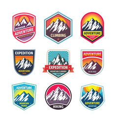 mountain climbing - design logo badge set vector image
