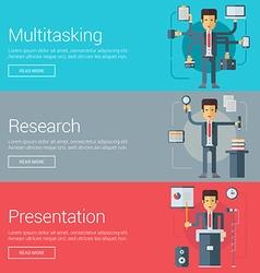 Multitasking Research Presentation Flat Design vector image
