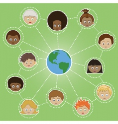 networking kids around world vector image