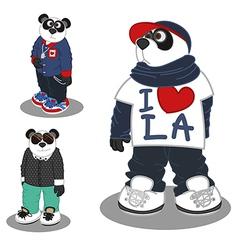 Panda lifestyle Fashion 3 vector image