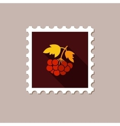Rowan branch flat stamp with long shadow vector