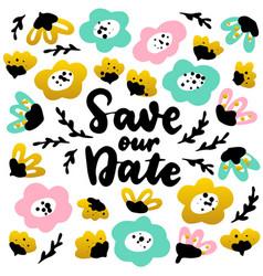 save date handwritten postcard vector image