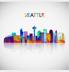 seattle skyline silhouette in colorful geometric vector image