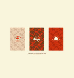 set of menu cover and seamless pattern for burger vector image