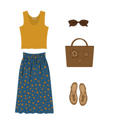 Set of yellow elegant t-shirt for women summer vector
