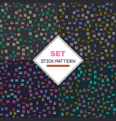 set stick pattern set of four seamless textures vector image