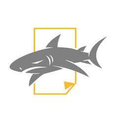 shark paper logo design isolated template vector image