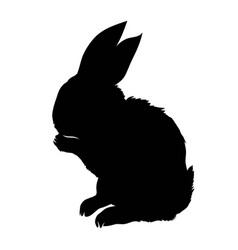 Silhouette of a sitting up rabbit vector
