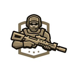 special forces soldier logo emblem vector image