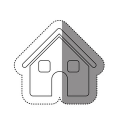 Sticker of monochrome contour of house two floors vector