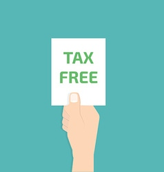 Tax Free in hand vector image