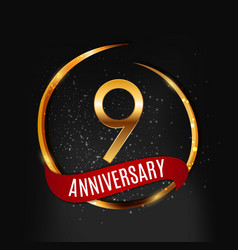 Template gold logo 9 years anniversary with red vector