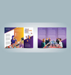 trifold business brochure template vector image