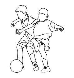 two boys playing football sketch vector image